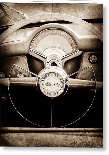 Jill Reger Photography Greeting Cards - 1954 Chevrolet Corvette Steering Wheel Emblem Greeting Card by Jill Reger