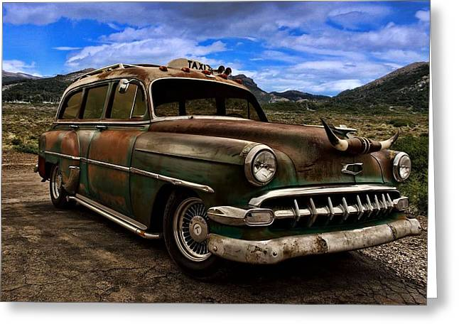 Station Wagon Greeting Cards - 1954 Chevrolet Station Wagon Taxi Greeting Card by Tim McCullough