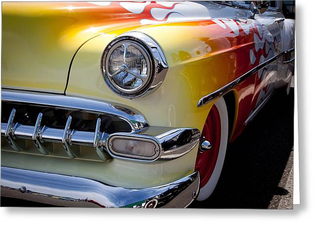 Radiator Badge Greeting Cards - 1954 Chevy Bel Air Greeting Card by David Patterson