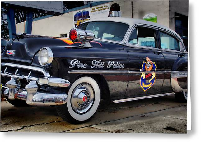 New To Vintage Photographs Greeting Cards - 1954 Chevy DARE Police Car  Pine Hill  NJ Greeting Card by Thomas  MacPherson Jr
