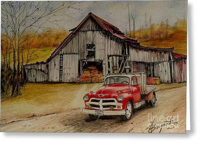 Old Barns Drawings Greeting Cards - 1954 Chevy Truck and Barn Greeting Card by Jackie Bryant