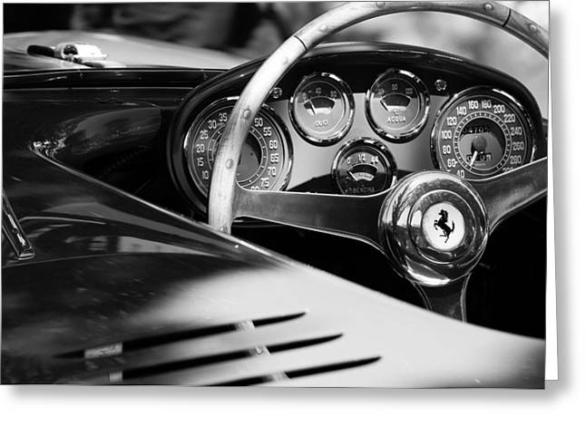 Sports Cars Images Greeting Cards - 1954 Ferrari 500 Mondial Spyder Steering Wheel Emblem Greeting Card by Jill Reger