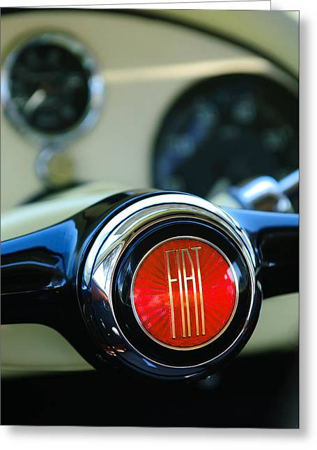 Concept Photographs Greeting Cards - 1954 Fiat 1100 Berlinetta Stanguellini Bertone Steering Wheel Emblem Greeting Card by Jill Reger