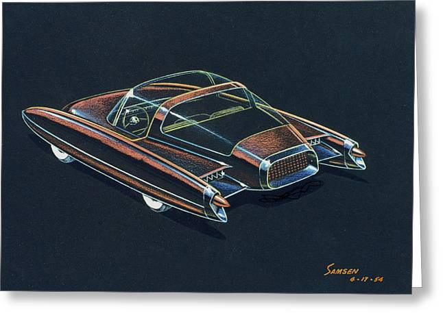 Valiant Greeting Cards - 1954  Ford Cougar experimental car concept design concept sketch Greeting Card by John Samsen