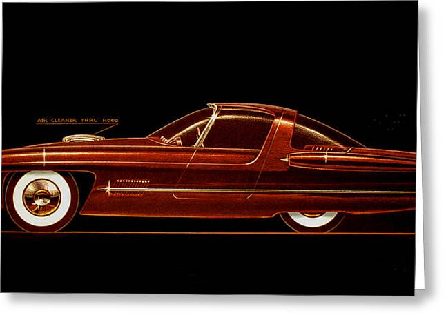 Future Dreams Greeting Cards - 1954 FORD COUGAR  experimental  car concept styling design concept sketch Greeting Card by John Samsen