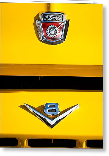 Classic Pickup Greeting Cards - 1954 Ford F-100 Custom Pickup Truck Emblems Greeting Card by Jill Reger