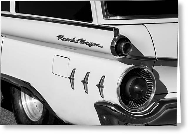 Wagon Greeting Cards - 1954 Ford Ranch Wagon Taillight Emblem -466bw Greeting Card by Jill Reger