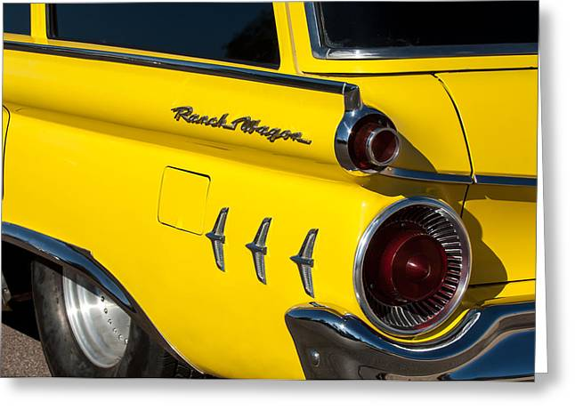 Wagon Greeting Cards - 1954 Ford Ranch Wagon Taillight Emblem -466c Greeting Card by Jill Reger