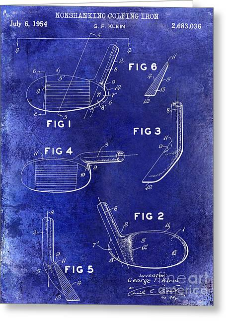 Lpga Greeting Cards - 1954 Golf Patent Drawing Blue Greeting Card by Jon Neidert
