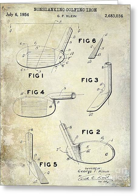 Fairway Greeting Cards - 1954 Golf Patent Drawing Greeting Card by Jon Neidert