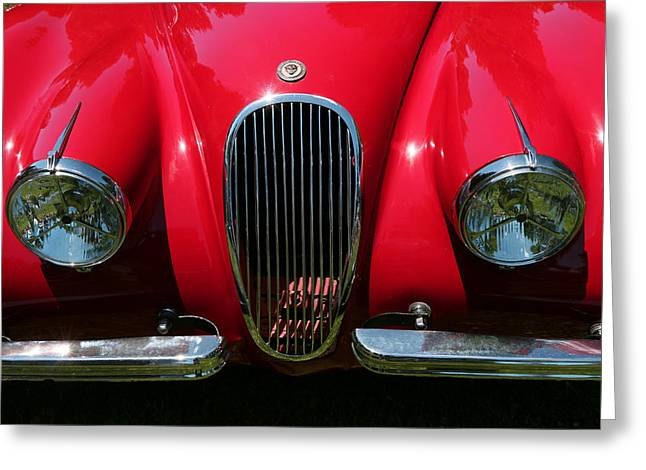 Collector Hood Ornament Greeting Cards - 1954 Jaguar XK-120 OTS Greeting Card by Allen Beatty