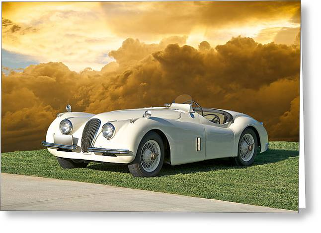 Rally Greeting Cards - 1954 Jaguar XK120 Roadster Greeting Card by Dave Koontz