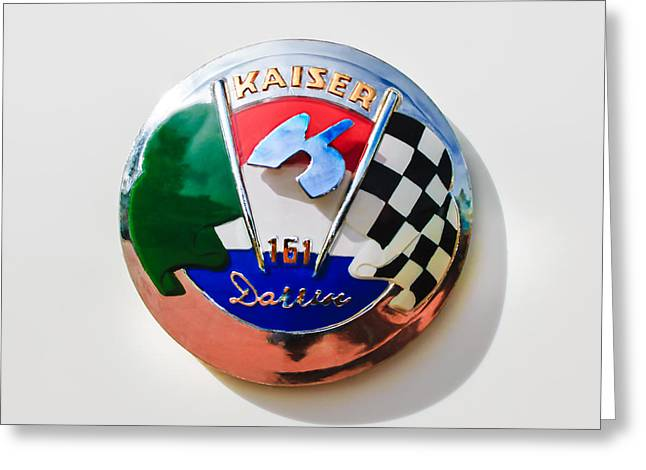 Kaiser Greeting Cards - 1954 Kaiser-Darrin Roadster Emblem Greeting Card by Jill Reger