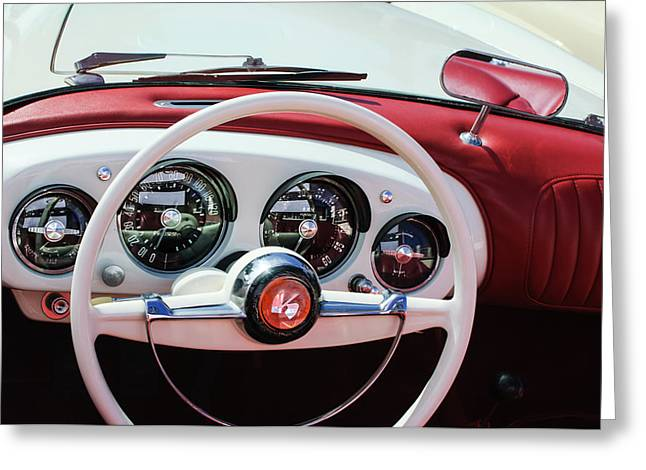 Kaiser Greeting Cards - 1954 Kaiser-Darrin Roadster Steering Wheel Greeting Card by Jill Reger
