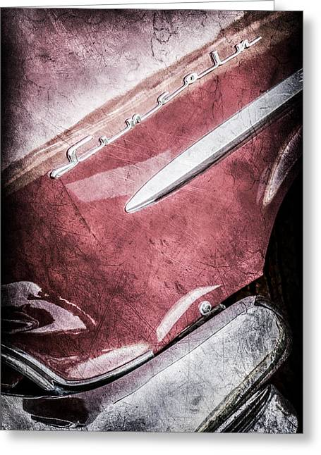 Lincoln Images Greeting Cards - 1954 Lincoln Capri Side Emblem -0742ac Greeting Card by Jill Reger