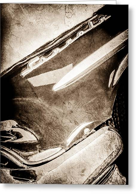 Lincoln Images Greeting Cards - 1954 Lincoln Capri Side Emblem -0742s Greeting Card by Jill Reger