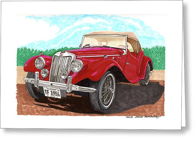 Wire Wheels Greeting Cards - 1954 M G T F  Greeting Card by Jack Pumphrey
