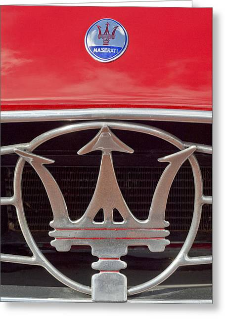 Famous Photographer Greeting Cards - 1954 Maserati A6 GCS Emblem Greeting Card by Jill Reger