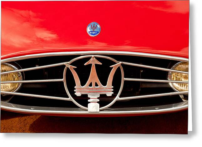 Vintage Hood Ornaments Photographs Greeting Cards - 1954 Maserati A6 Gcs Grille Emblem -0259c Greeting Card by Jill Reger