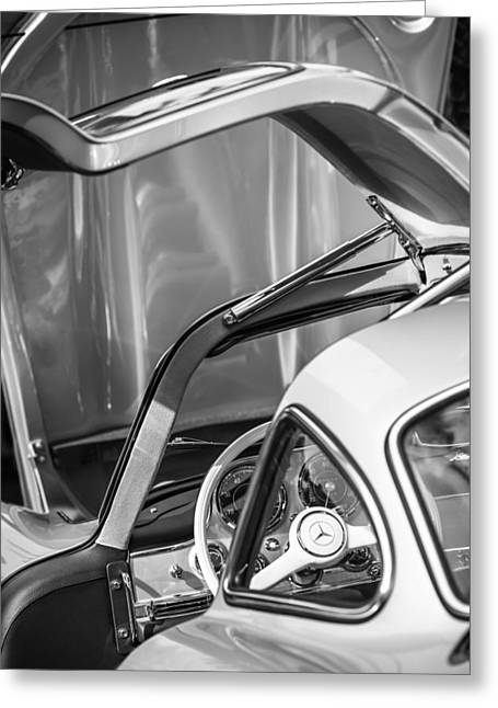 Mercedes Benz 300 Classic Car Greeting Cards - 1954 Mercedes-Benz 300SL Gullwing Steering Wheel -1653bw Greeting Card by Jill Reger