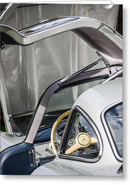 Gullwing Greeting Cards - 1954 Mercedes-Benz 300SL Gullwing Steering Wheel -1653c Greeting Card by Jill Reger