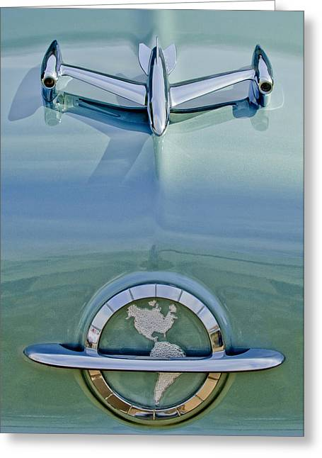 Car Mascot Greeting Cards - 1954 Oldsmobile Super 88 Hood Ornament Greeting Card by Jill Reger