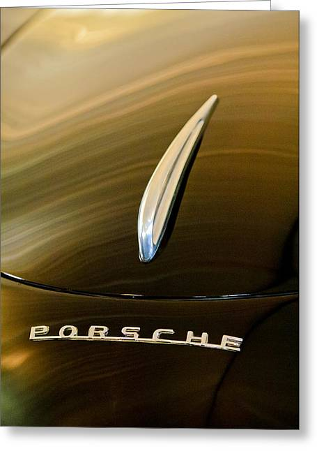 Bent Greeting Cards - 1954 Porsche 356 1500 Bent-Window Coupe Hood Ornament Greeting Card by Jill Reger