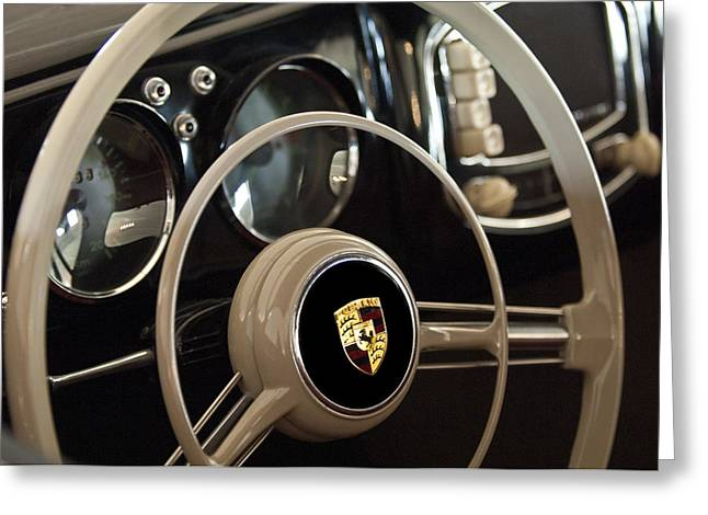 Wheels Greeting Cards - 1954 Porsche 356 Bent-Window Coupe Steering Wheel Emblem Greeting Card by Jill Reger