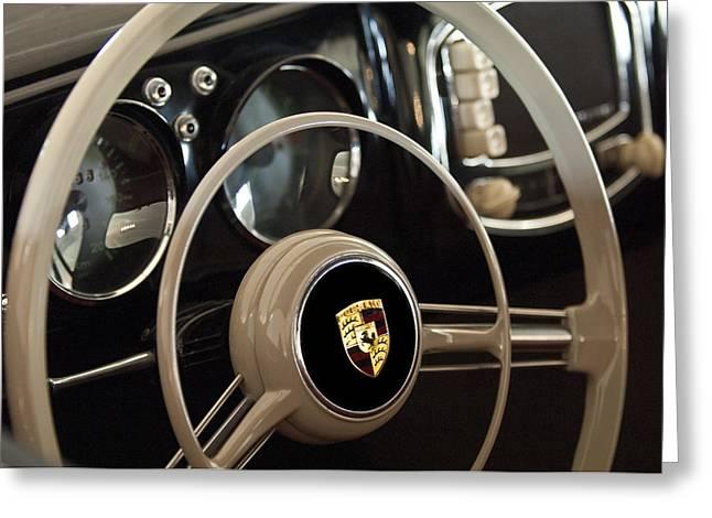 1954 Porsche 356 Bent-Window Coupe Steering Wheel Emblem Greeting Card by Jill Reger