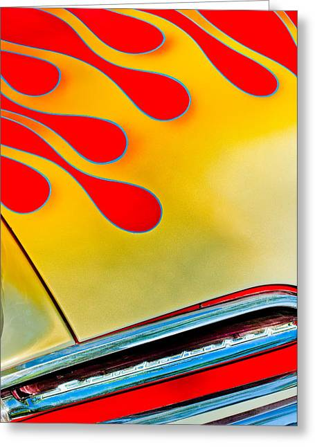 Photos With Red Photographs Greeting Cards - 1954 Studebaker Champion Coupe Hot Rod Red With Flames - Grille Emblem Greeting Card by Jill Reger