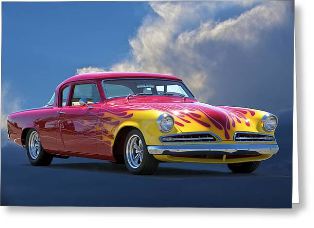 Slam Photographs Greeting Cards - 1954 Studebaker Custom Greeting Card by Dave Koontz
