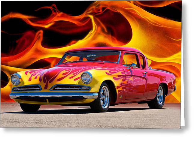 Slam Photographs Greeting Cards - 1954 Studebaker Devils Ride Greeting Card by Dave Koontz