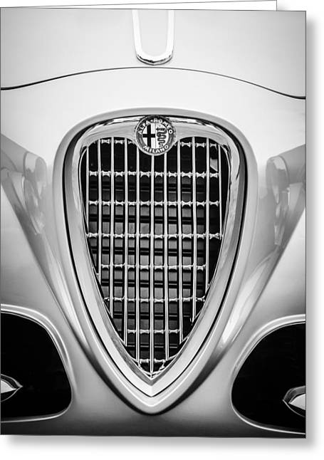 1955 Greeting Cards - 1955 Alfa Romeo 1900 CSS Ghia Aigle Cabriolet Grille Emblem -0564bw Greeting Card by Jill Reger