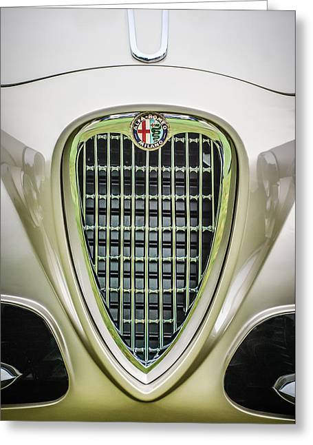 1955 Greeting Cards - 1955 Alfa Romeo 1900 CSS Ghia Aigle Cabriolet Grille Emblem -0564c Greeting Card by Jill Reger
