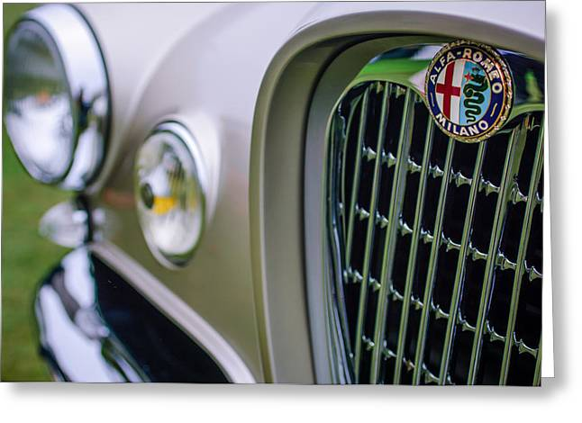 1955 Greeting Cards - 1955 Alfa Romeo 1900 CSS Ghia Aigle Cabriolet Grille Emblem Greeting Card by Jill Reger