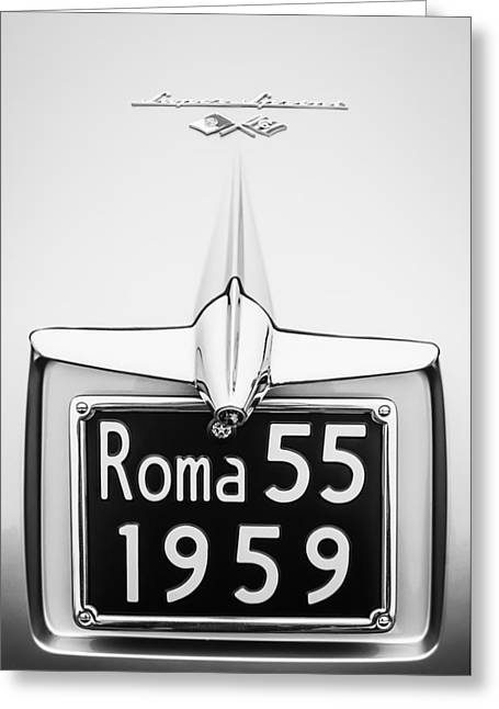 1955 Alfa Romeo 1900 Css Ghia Aigle Cabriolet Grille Emblem - Super Sprint Emblem -0601bw Greeting Card by Jill Reger