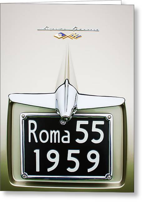 1955 Greeting Cards - 1955 Alfa Romeo 1900 CSS Ghia Aigle Cabriolet Grille Emblem - Super Sprint Emblem -0601c Greeting Card by Jill Reger