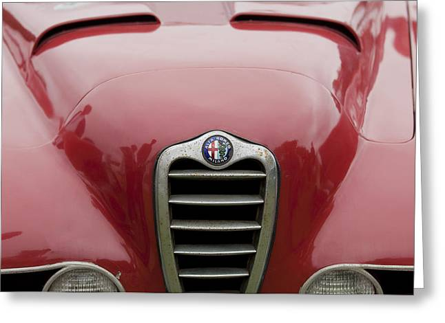 1955 Greeting Cards - 1955 Alfa Romeo 1900 Zagato Grille Greeting Card by Jill Reger
