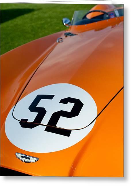 1955 Greeting Cards - 1955 Aston Martin DB3S Hood Emblem Greeting Card by Jill Reger