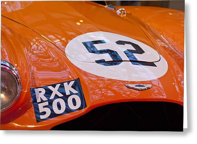 Professional Racing Greeting Cards - 1955 Aston Martin DB3S Sports Racing Car Hood 2 Greeting Card by Jill Reger