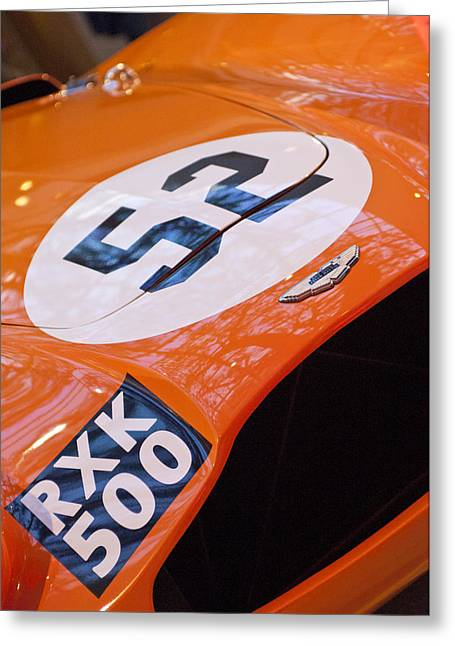 Professional Racing Greeting Cards - 1955 Aston Martin DB3S Sports Racing Car Hood Greeting Card by Jill Reger