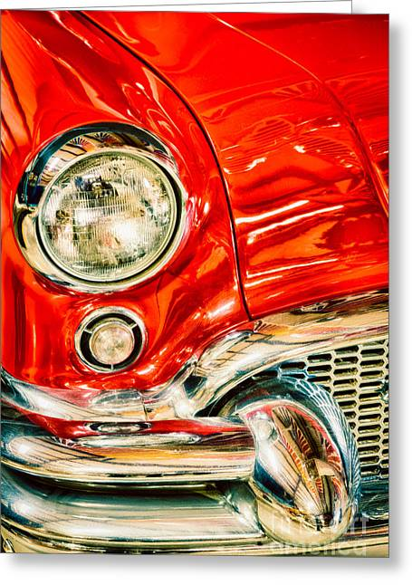 Headlight Greeting Cards - 1955 Buick Century Greeting Card by Inge Johnsson