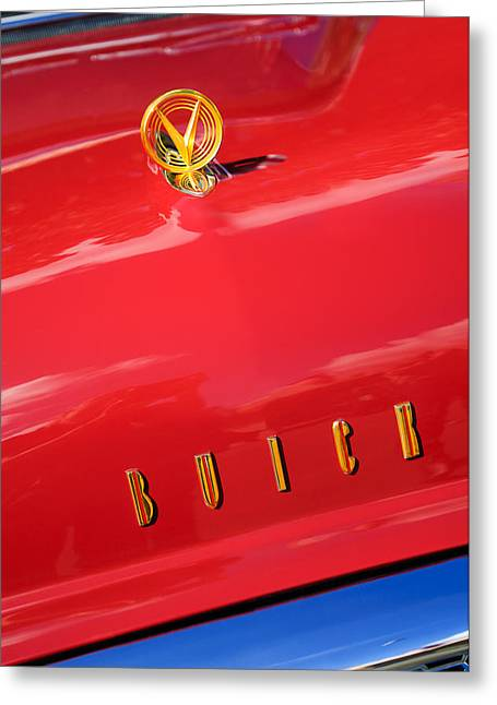 1955 Greeting Cards - 1955 Buick Roadmaster Hood Ornament - Emblem Greeting Card by Jill Reger