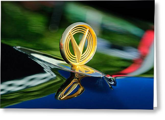 1955 Greeting Cards - 1955 Buick Roadmaster Hood Ornament Greeting Card by Jill Reger