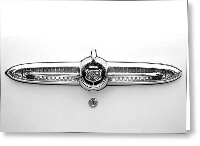 1955 Buick Greeting Cards - 1955 Buick Special Rear Emblem Greeting Card by Brooke Roby