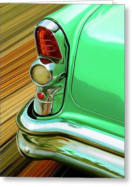 1955 Greeting Cards - 1955 Buick Taillight Detail Greeting Card by David Kyte