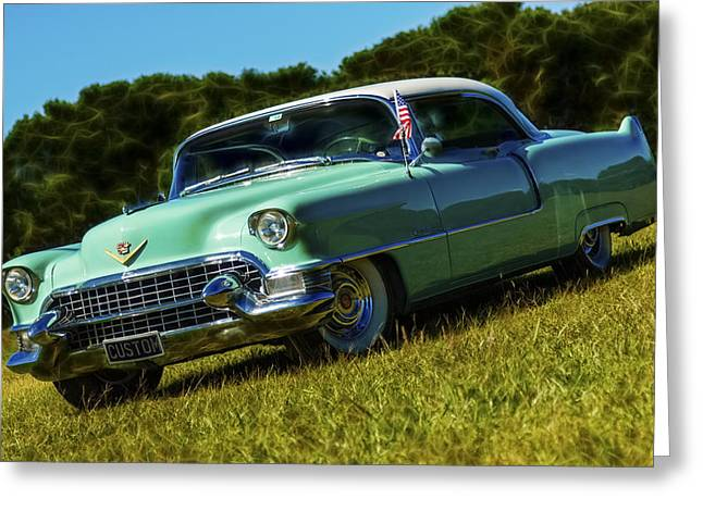 Phil Motography Clark Photographs Greeting Cards - 1955 Cadillac Coupe De Ville Greeting Card by motography aka Phil Clark
