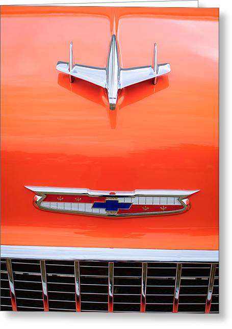 1955 Greeting Cards - 1955 Chevrolet 210 Resto Mod Hood Ornament Greeting Card by Jill Reger