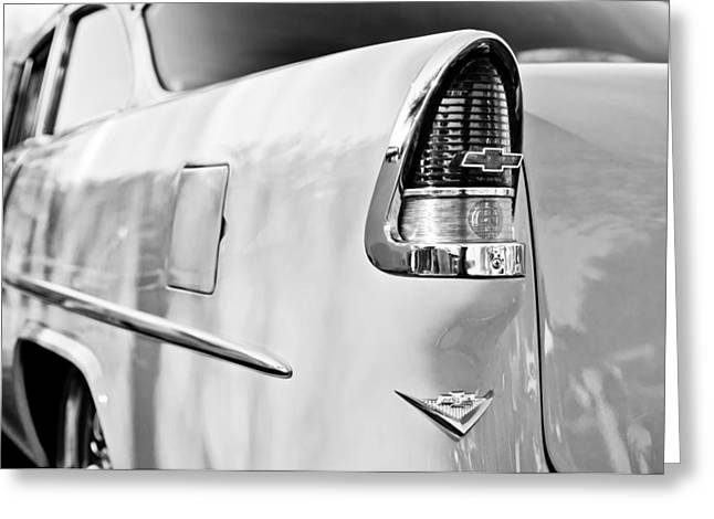1955 Greeting Cards - 1955 Chevrolet 210 Taillight Emblem -0371bw Greeting Card by Jill Reger