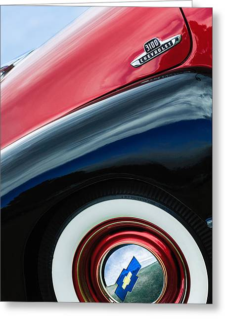 Classic Pickup Truck Greeting Cards - 1955 Chevrolet 3100 Pickup Truck Emblem Greeting Card by Jill Reger